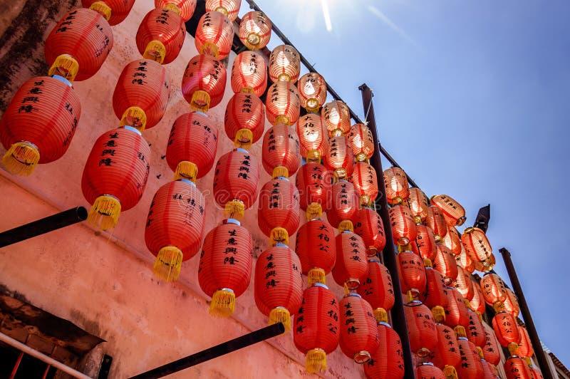 Chinese lantaarns in tempel, Penang, Maleisië royalty-vrije stock afbeelding