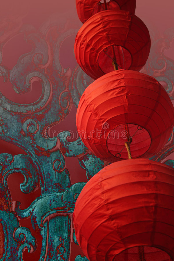 Chinese lantern. Stacked red chinese lanterns on an oriental background