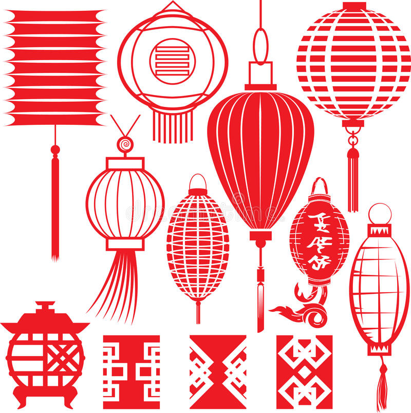 Chinese Lantern Collection vector illustration