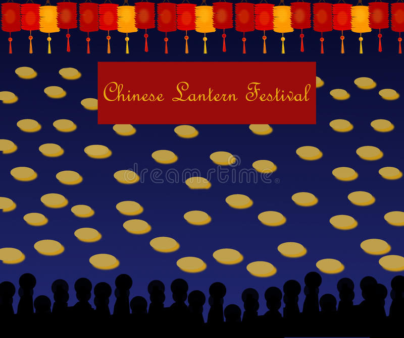 Chinese Lantern Festival. The images shows a sea or a lake on which are many candles during the Chinese Lantern Festival. On the top are many lantern in red and vector illustration