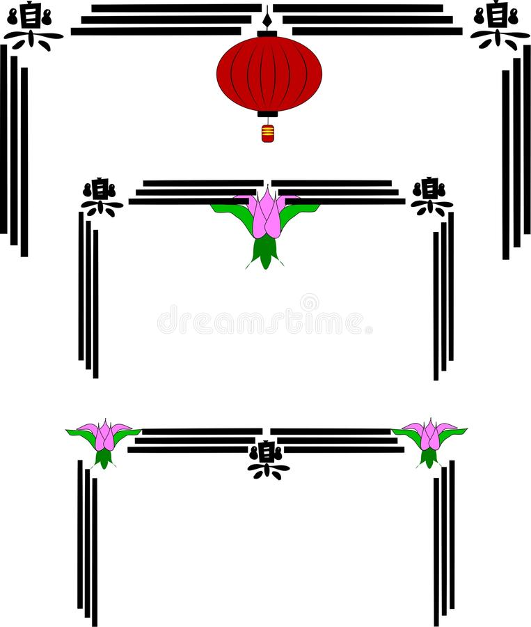 Chinese lantern frames royalty free illustration