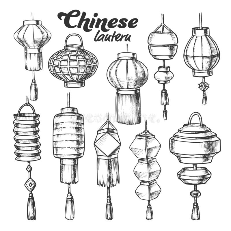 Free Chinese Lantern In Different Shapes Set Ink Vector Stock Images - 158750044