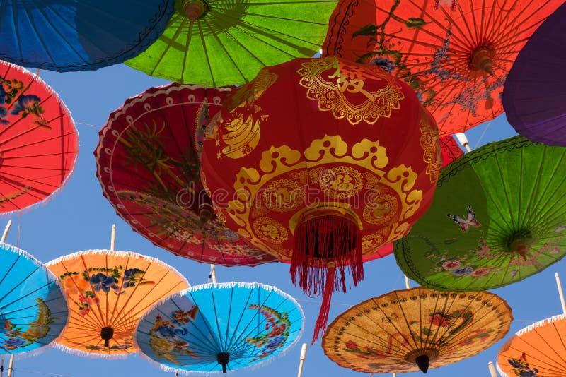 Chinese Lantern With Umbrellas stock image