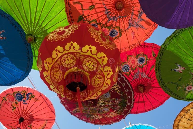 Chinese Lantern With Umbrellas royalty free stock photo