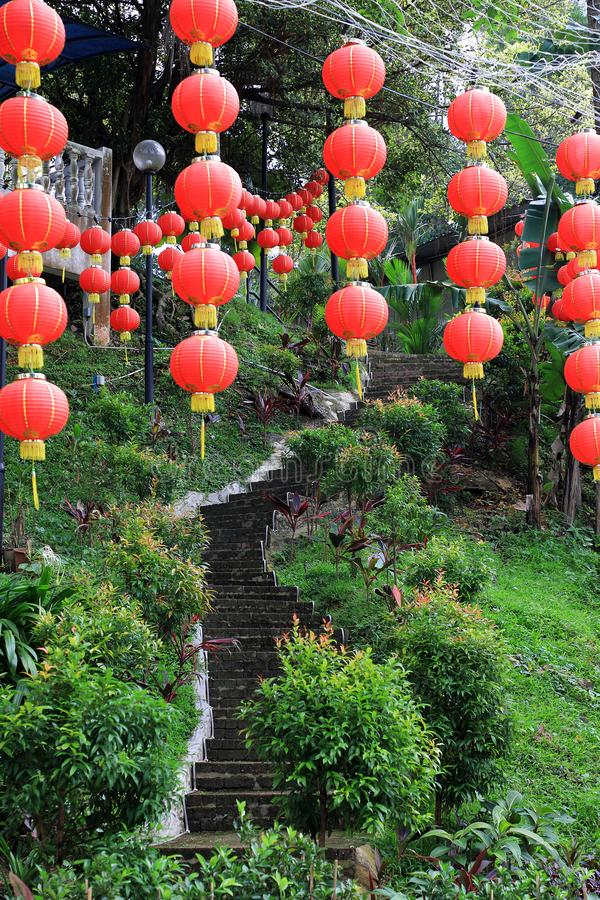 Chinese Lanterns at Chinese Temple. Rows of Chinese Lanterns at a Chinese Temple at the Thean Hou Temple in Kuala Lumpur Malaysia royalty free stock photography