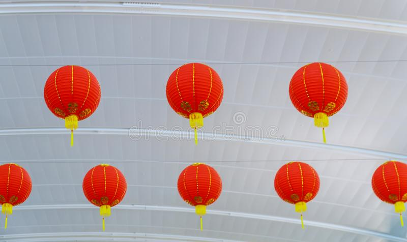 Chinese lanterns are decorated during Chinese New Year in festival stock photo