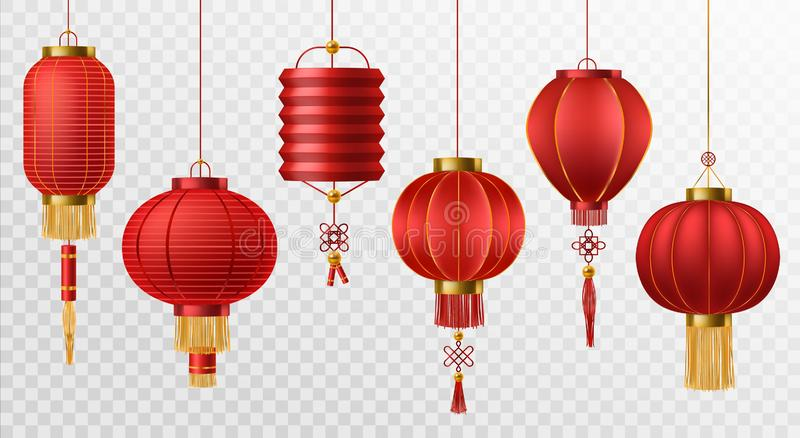 Chinese lanterns. Japanese asian new year red lamps festival 3d chinatown traditional realistic element vector set. Chinese lanterns. Japanese asian new year red vector illustration