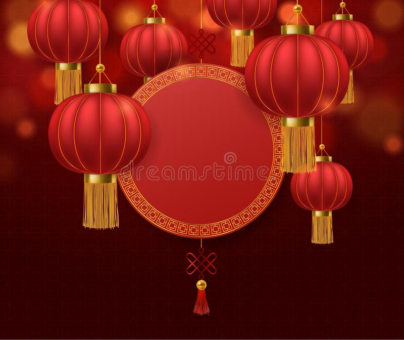 Chinese lanterns. Japanese asian 2020 rat new year red lamps festival 3d chinatown traditional realistic festive vector royalty free illustration