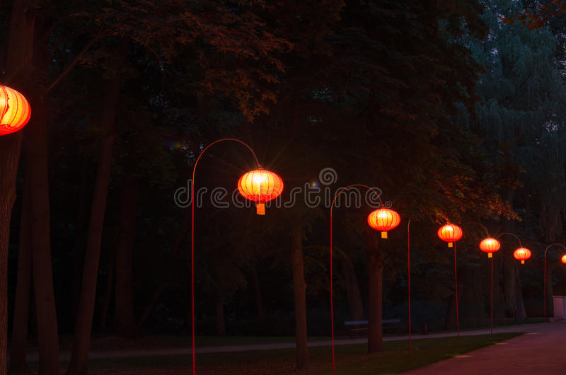 Chinese lanterns in Lazienki Park. Chinese lanterns in Warsaw Lazienki Park at night royalty free stock photography