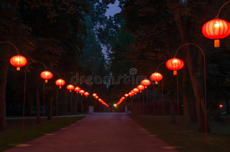 Chinese lanterns in Lazienki Park. Chinese lanterns in Warsaw Lazienki Park at night royalty free stock photo