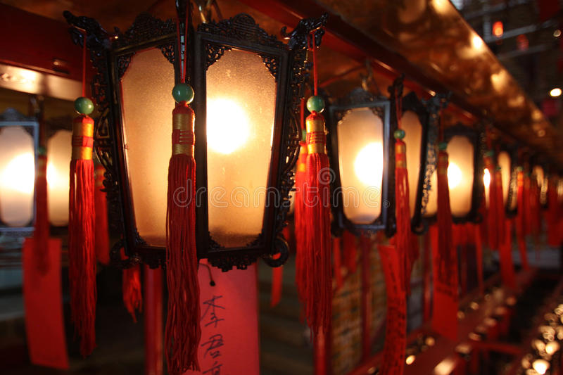 Chinese lanterns. Line the walls of an ancient temple stock photos
