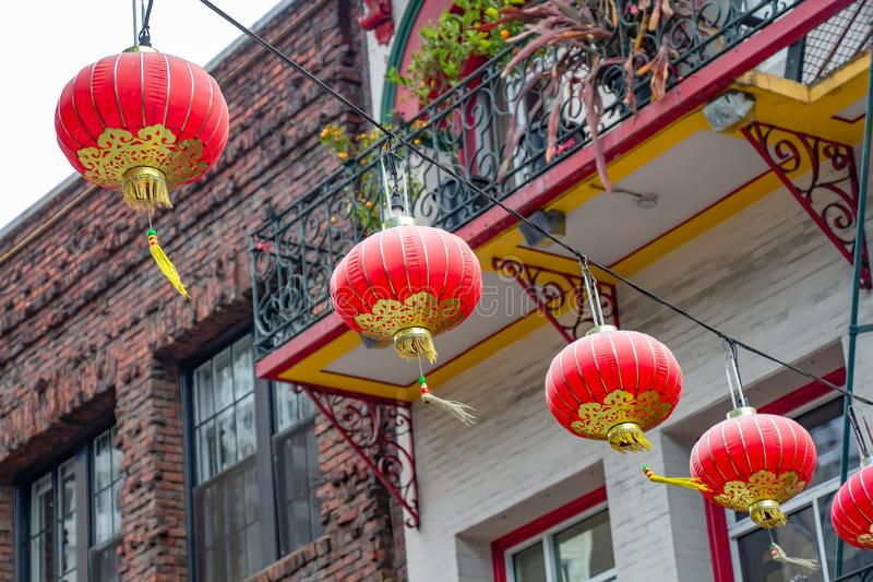 Chinese lanterns from below. Red and gold Chinese lanterns in Chinatown, San Francisco, California, USA royalty free stock image