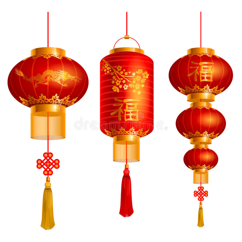 Chinese lanterns set. Vector set of red Chinese lanterns circular and cylindrical shape