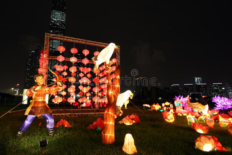 Chinese laterns at mid autumn festival royalty free stock images