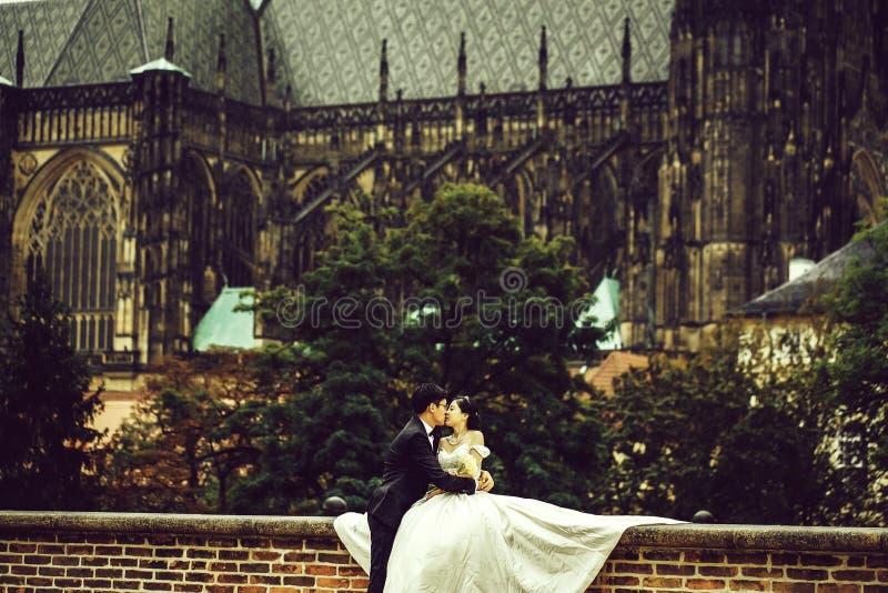 Chinese leuke jonge jonggehuwden openlucht royalty-vrije stock afbeeldingen