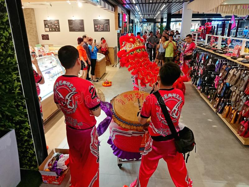 Chinese Lion Dance in Singapore stock images