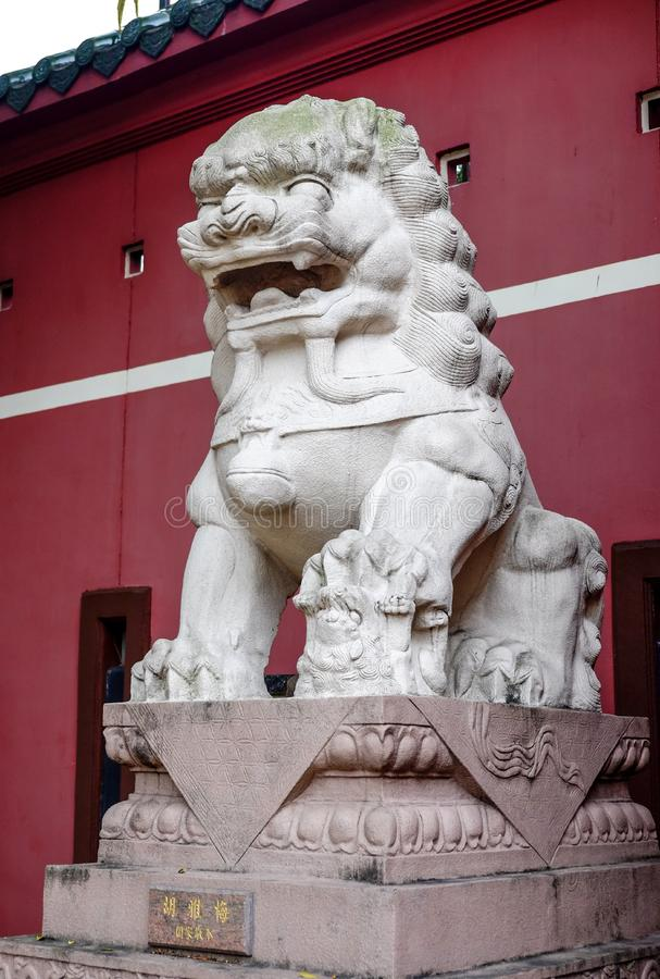 Chinese lion guardian sculpture stock images