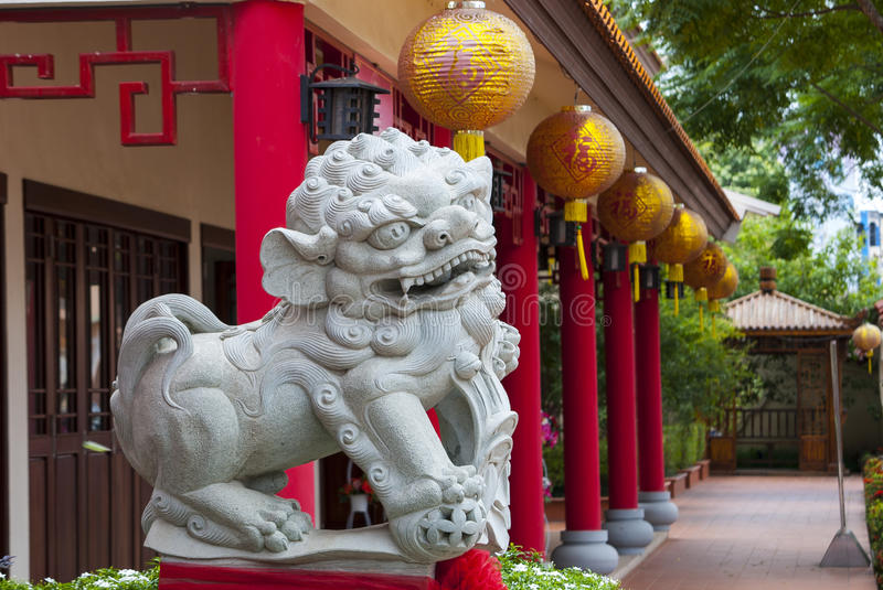 Chinese lion statue royalty free stock photography