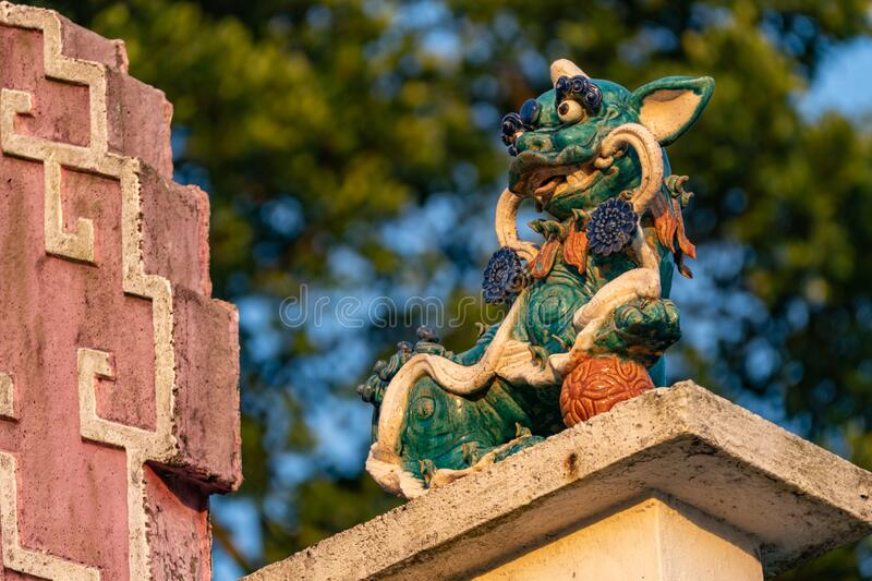Chinese Lion Statue on the  Tin Hau Temple stock image