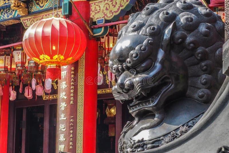 Chinese Lion Statue, Wong Tai Sin Temple, Hong Kong stockfoto