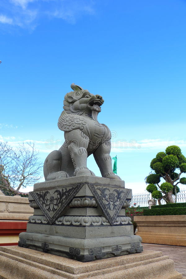 Chinese Lion Statues In Chinese Temple Royalty Free Stock Photos