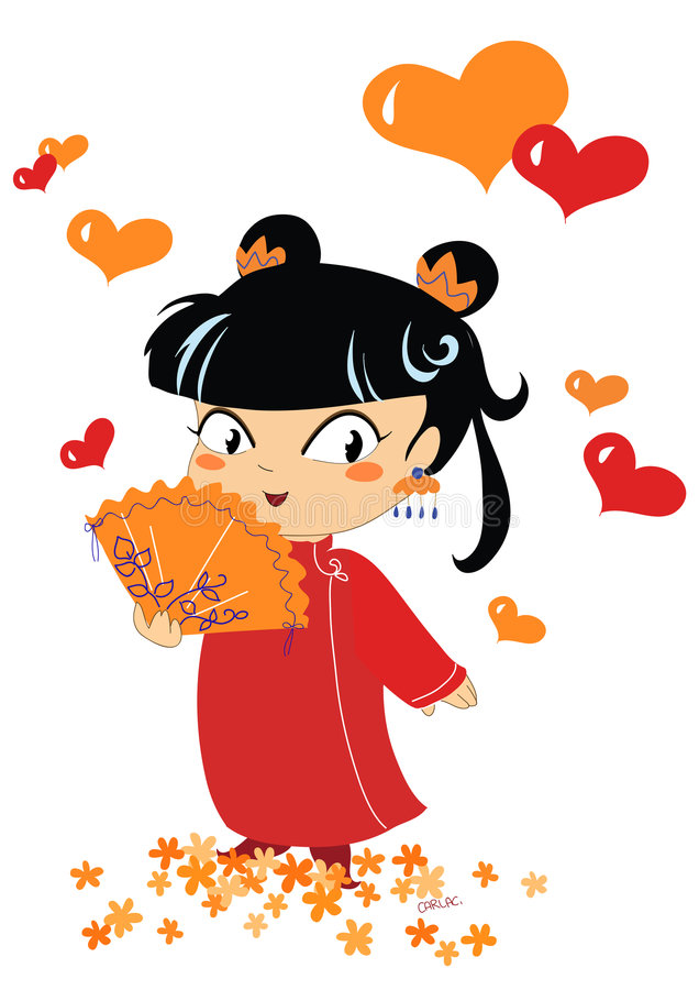 Download Chinese Little Girl On White Stock Vector - Image: 1292568