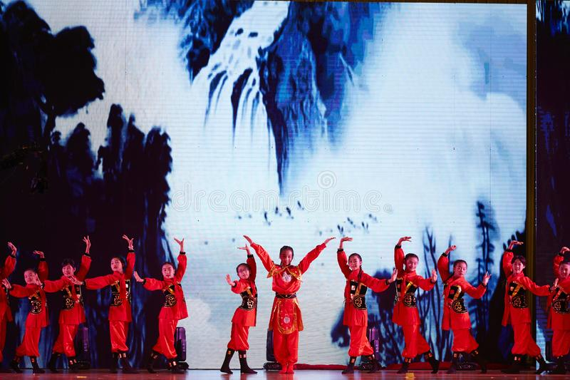 Girl team performing Chinese Kongfu dance stock photos