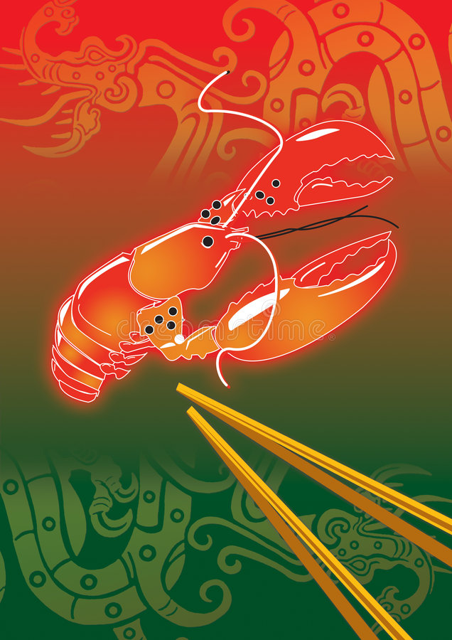 Chinese Lobster 10 stock illustration