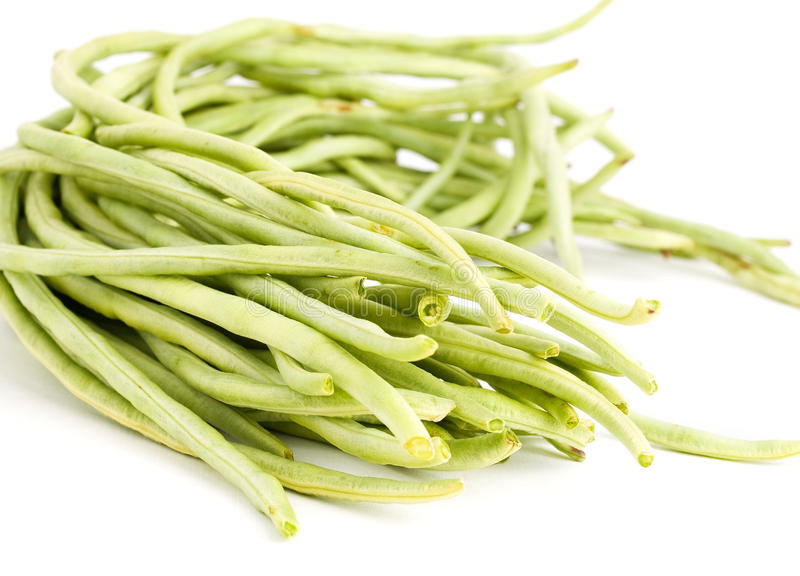 Chinese long beans. Isolated on white back royalty free stock images