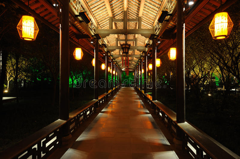 Chinese long corridor at night. In Chengdu,Sichuan,China royalty free stock images