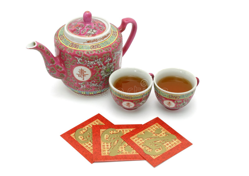Download Chinese Longevity Tea Set And Red Packets Stock Image - Image: 4021537