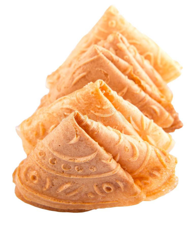 Chinese Love Letter Biscuit VII. Kuih Kapit or the Chinese Love Letter biscuit over white background stock image