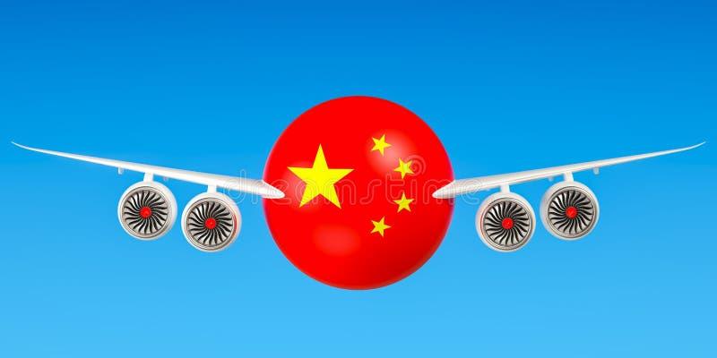 Chinese luchtvaartlijnen en flying& x27; s, vluchten aan het concept van China 3d trek uit royalty-vrije illustratie