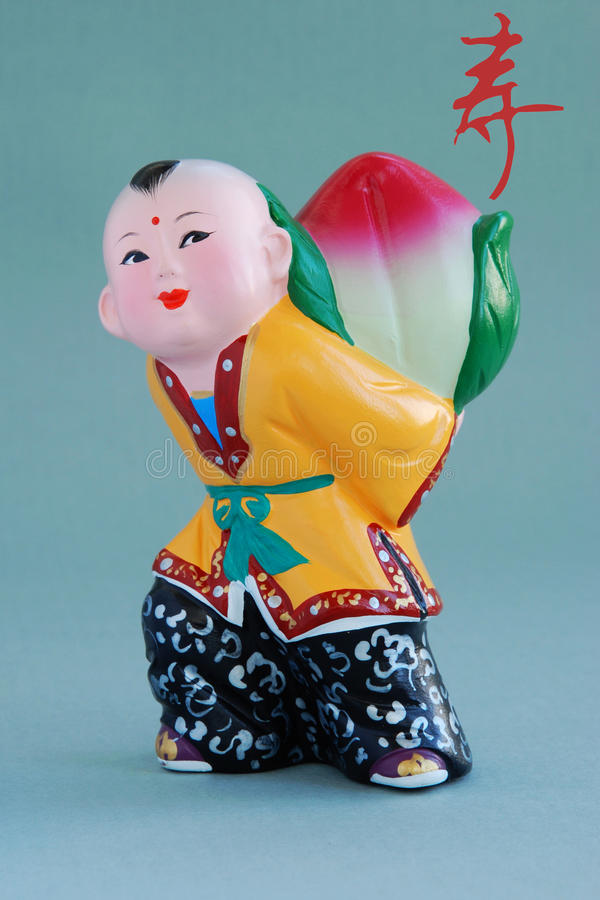 Chinese lucky clay figurine_long life(char) stock images
