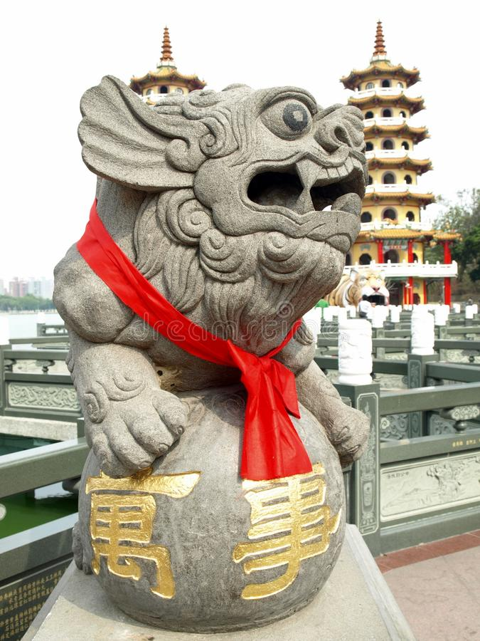 Download Chinese Lucky Lion: The Dragon And Tiger Pagodas Stock Photo - Image: 12872218