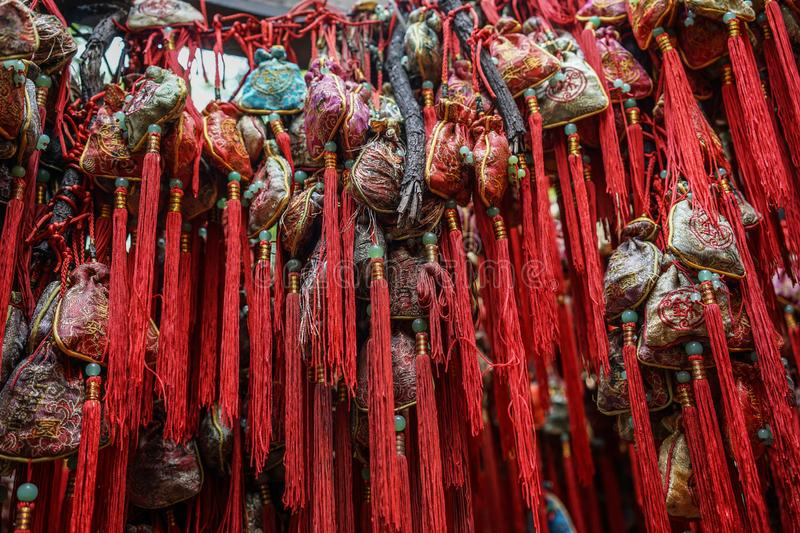 Chinese lucky ornaments at street market royalty free stock photography