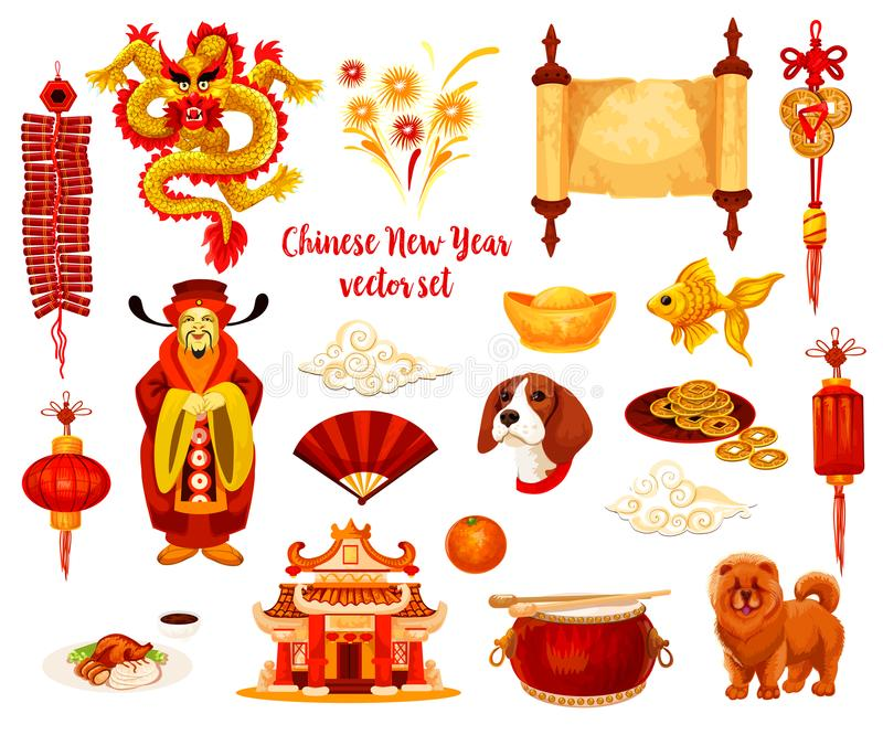 Chinese Lunar New Year holiday icon design stock illustration