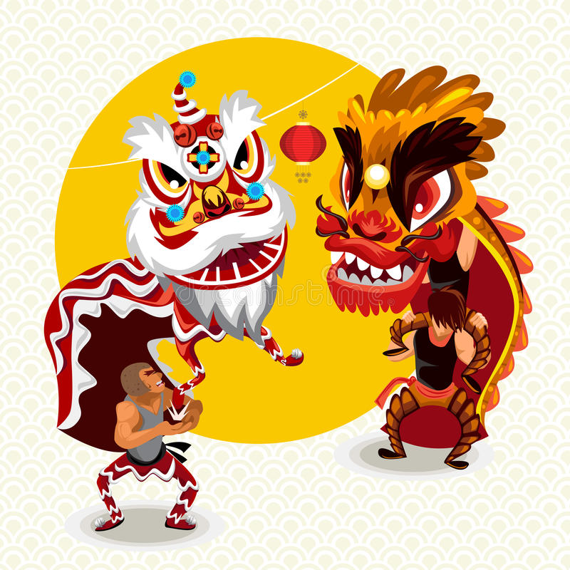 Chinese Lunar New Year Lion Dance Fight royalty free illustration
