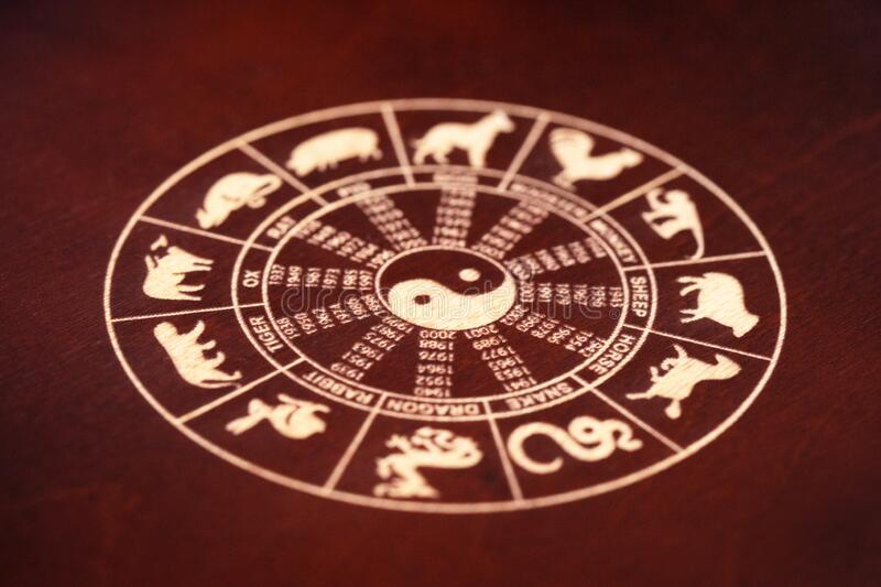 Chinese lunar zodiac, happy chinese new year, gold chinese lunar symbols. On wooden background royalty free stock images