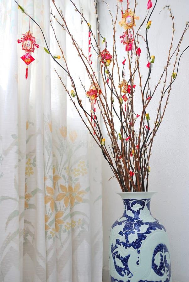 Chinese Maan de boomdecoratie van het Nieuwjaar royalty-vrije stock afbeelding