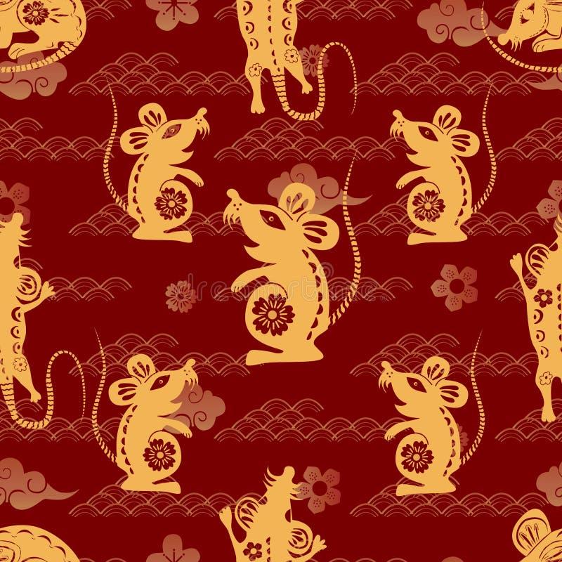 Chinese maan nieuwe jaarachtergrond Rat - symbool 2020 Nieuwjaar Wolk, rat, sakura Vectorillustratie voor het verpakken, affiche, royalty-vrije illustratie