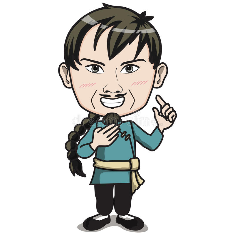 Chinese Male Character With Pigtail Hair Style Wearing Kungfu Suit Standing And Smiling Drawing Cartoon Or Comic