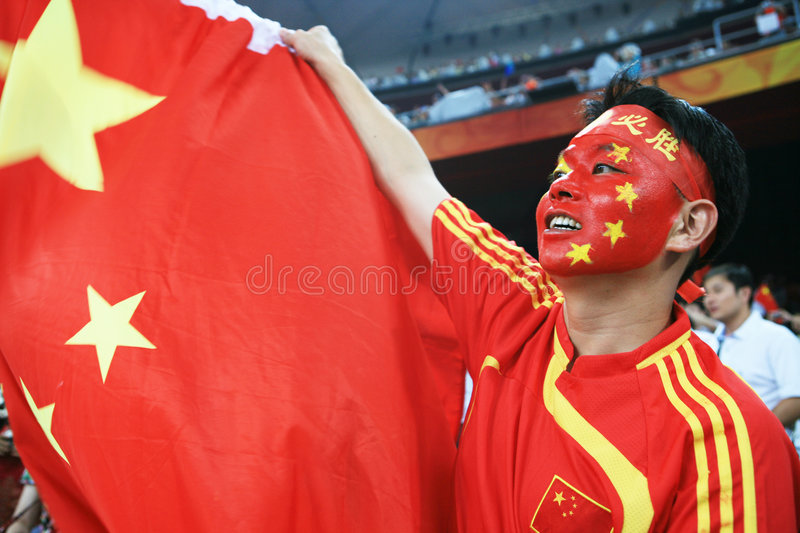Chinese Man Screaming With Chinese  Flag Editorial Image