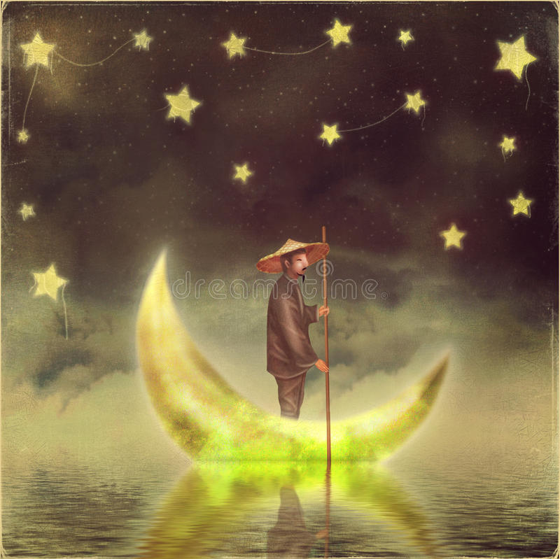 Chinese man stands on moon at morning fog royalty free illustration