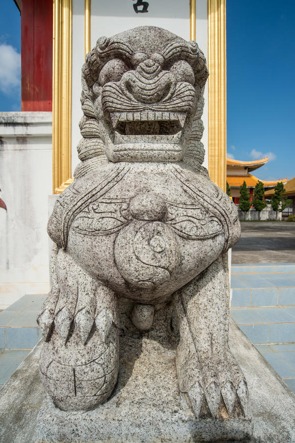 Chinese marble lion decoration in front oChinese Martyrs` Memorial Museum on Doi Mae Salong of Chiang Rai province of Thailand. Chinese Martyrs` Memorial Museum royalty free stock photos