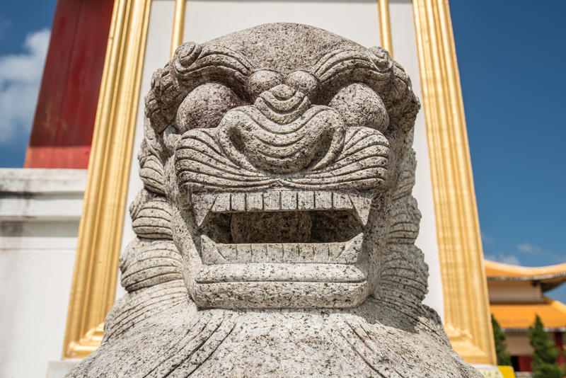 Chinese marble lion decoration in front oChinese Martyrs` Memorial Museum on Doi Mae Salong of Chiang Rai province of Thailand. Chinese Martyrs` Memorial Museum stock image