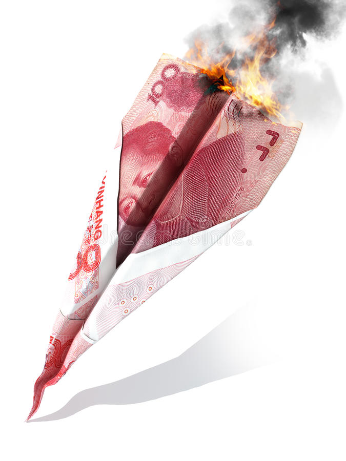Chinese market crash or dept concept. Chinese yuan currency in the shape of a paper airplane crash and burning on a white royalty free stock images