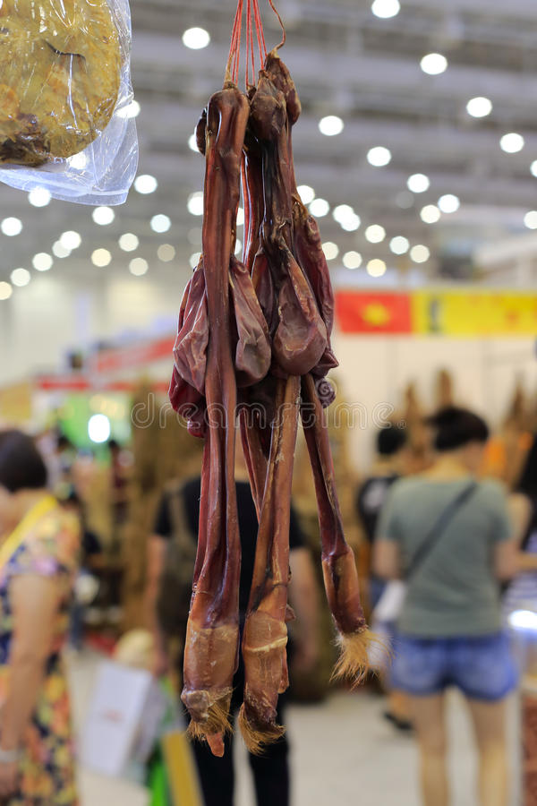 Chinese medicine dried deer penis stock photography