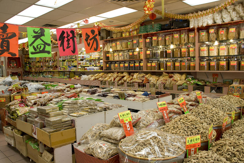 Chinese medicine herb store. A Chinese herb store in Chinatown Vancouver BC Canada royalty free stock photography