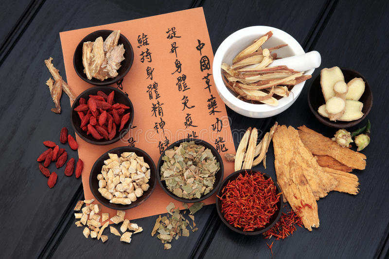 Chinese Medicine. Chinese herbal medicine selection with mandarin calligraphy script describing the medicinal functions to maintain body and spirit health and stock image